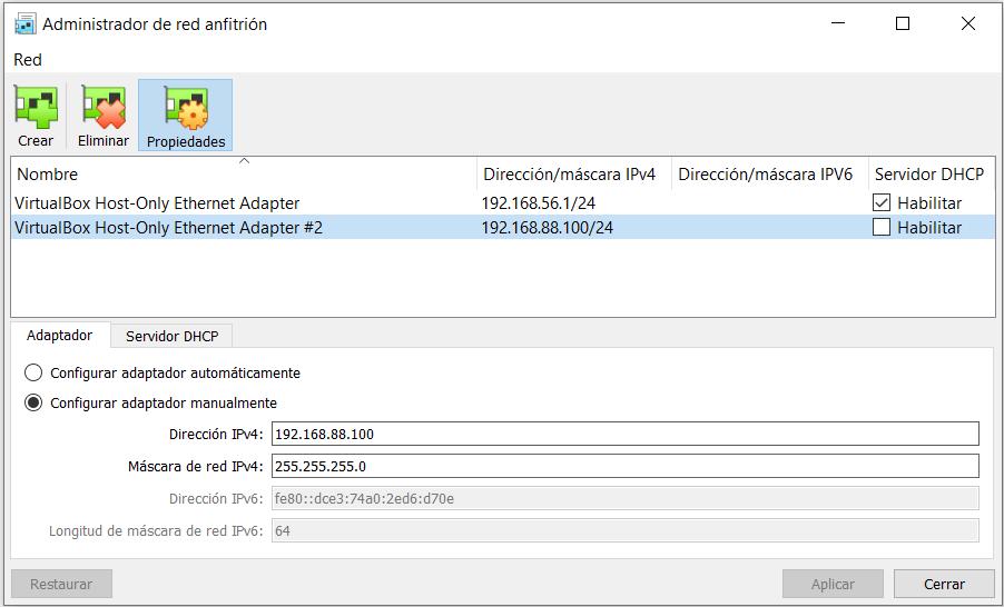 Creación del adaptador host only en VirtualBox